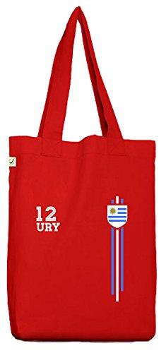 ShirtStreet Soccer World Cup Fussball WM Fanfest Gruppen Bio Baumwoll Jutebeutel Stoffbeutel Streifen Trikot Uruguay Red 5G3hM4V