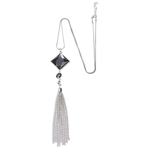 Long Chain Necklaces Women Tassels Sweater Necklaces Crystal Pearls Pendant Necklace Hemlock (Silver)