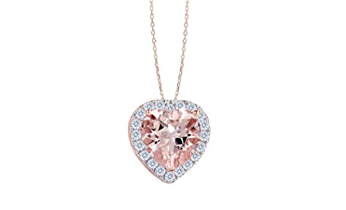 NYC Sterling Women Sterling Silver Simulated Morganite Pendant Necklace (Heart)