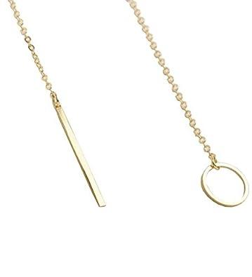 Amazon SUNNOW Women s Simple Gold Ring Circle Bar Pendant