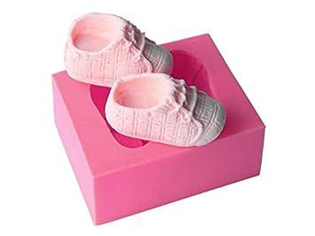 Molde de la galleta Zapatos de bebé Moldes para Hornear Herramientas de decoración de Pasteles de Silicona Modelo Creativo de aromaterapia (Rosa): ...