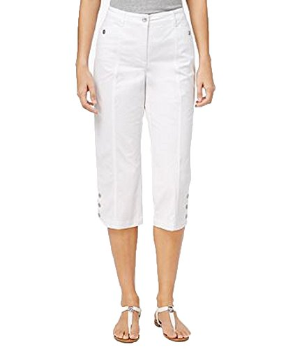 Karen Scott Button-Hem Capris (Bright White, 6) (Button Hem Capris)
