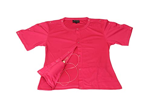 (2 pcs Set of Post Mastectomy Easy Open Surgery Recovery Shirt Top with Pockets for Drains (2XL, Pink))