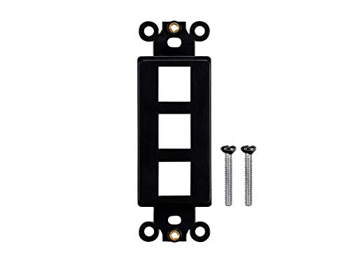 - Monoprice Keystone 3 Hole Decor Insert - Black | for Ethernet Networks Or Home Theater Interconnects Keystones, Wall Plate, Gang Boxes