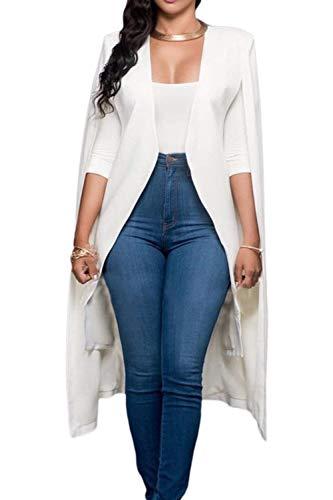 Blazer Donna Lunga Prodotto Plus Giacca Da Tailleur Stola Ragazza Primaverile Casuale Autunno Unico Business Ufficio Aperto A Forcella Camicia Cappotto Whitee