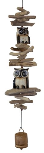 Cohasset Gifts | | | # 616 Wind Twin Oscar Owl Cohasset Bell |, Tan and White |