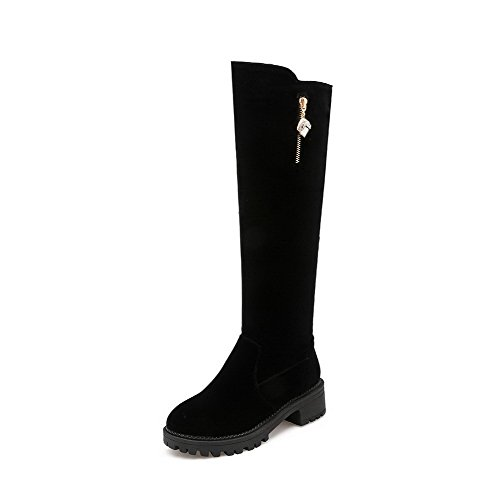 Women's WeenFashion Round High Kitten Frosted Top Closed Toe Black Zipper Heels Boots UdqfdwHr