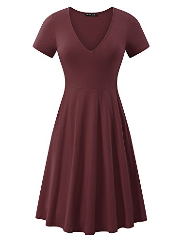 FENSACE Womens V Neck Pockets Simple Casual Swing