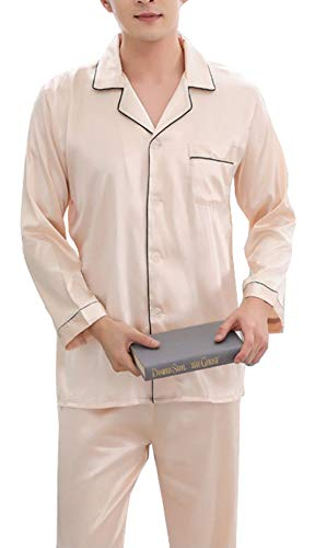 Respeedime Autumn Home Service Silk Pajamas Summer Men 's Long Sleeved Trousers Sets Sleepwear Champagne Size -