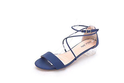 Mila Lady Backy 2 Lucite Cross Chunky Clear Low Heels Navy 5.5
