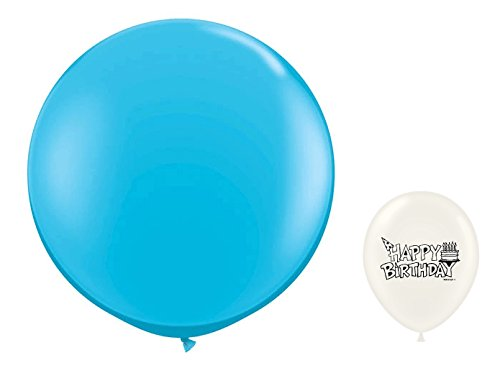 Large 3' Round Latex Balloon Bundle (Robin's Egg) ()