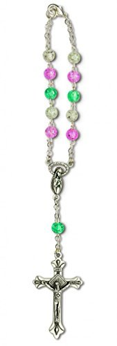 One Decade Auto Rosary for Rear View Mirror (Multi Color Crackle Glass)