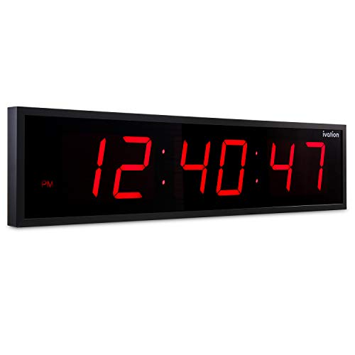 DBTech 0136RED Huge Large Big 36 Inch Oversized Digital LED Clock, Red (Clock 36)