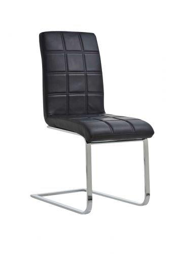CLP Freischwinger EMILY mit hochwertiger Polsterung und Kunstlederbezug I Ergonomischer Schwingstuhl mit Metallgestell und einer Sitzhöhe von  50 cm Schwarz