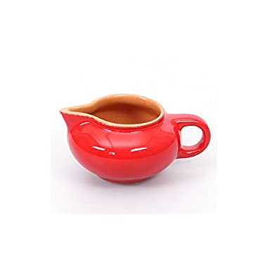 Borisov Gravy boat. Color: red, material: clay. Tableware kitchen decor