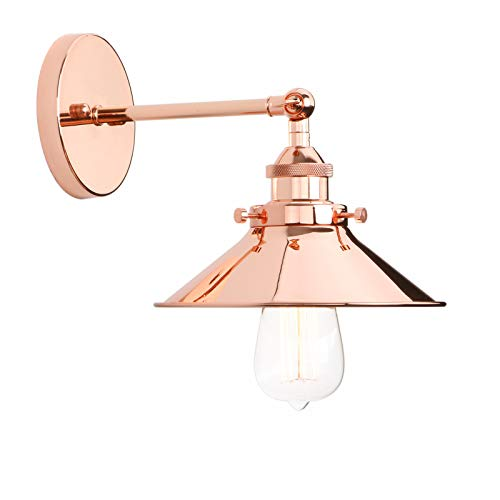 Permo Vintage Industrial Metal Wall Sconce Lighting 180 Degree Adjustable Wall Lamp (Copper)