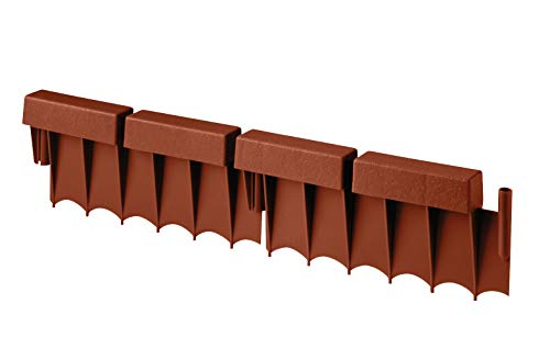 Suncast Interlocking Border Edging - Brick -Like Poly Construction for Garden, Lawn, and Landscape Edging - Waterproof Border for Containing Trees, Flower Beds and ()