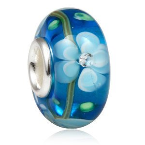 Everbling White & Blue Flower Blossom with Inside CZ Cubic Zirconia Murano Glass Authentic 925 Sterling Silver Solid Core Charm Fits Pandora Chamilia Biagi Troll Beads Europen Style Bracelets