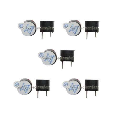 5PCS 5V Active Buzzer Magnetic Long Continous Beep Tone Alarm Ringer 12MM