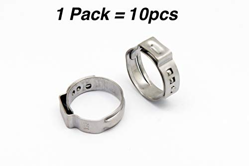 (10 Pieces of Stainless Single Ear Crimp Clamps (Stepless Clamps), ID 7.8-9.5mm to)