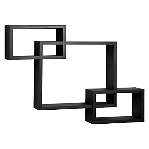 Square Wall Mounted Corner (Finether 3-Piece Intersecting Floating Wall Shelves Bedroom Wall Mounted Bookcase Storage Display Organizer,)
