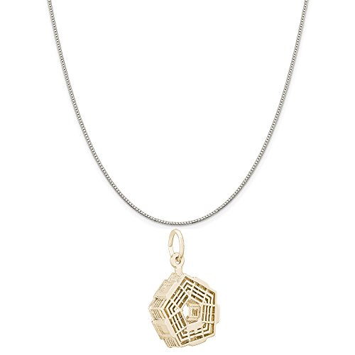 Rembrandt Charms Two-Tone Sterling Silver Pentagon Charm on a Sterling Silver Box Chain Necklace, 20