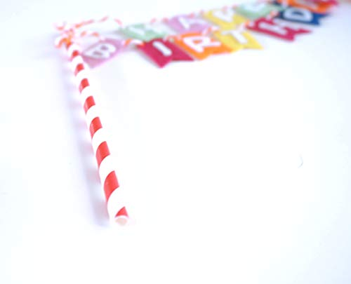 Rainbow Happy Birthday Flag Banner Cake Topper Bunting