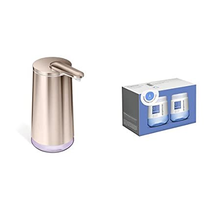 Sensor Soap Pump simplehuman 9 Oz Rose Gold Stainless Steel with 3 Pack of
