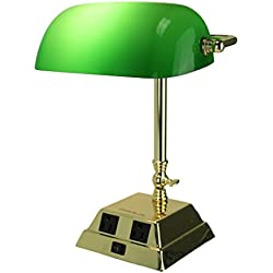 Metal & Glass Desk Lamps Green Glass Bankers Lamp Polished Brass Finish With Charging Outlets 13 X 10.5 X 9 Inches Gold