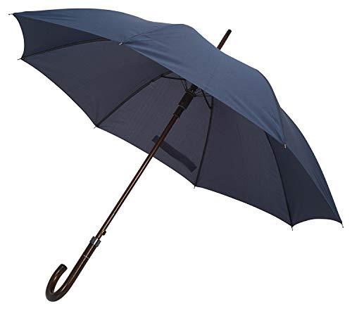 TAHARI Deluxe Automatic Open Wood Handle & Shaft Umbrella (Navy Blue)