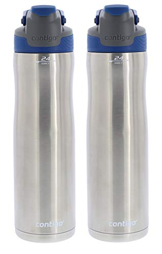 Contigo Autoseal Chill Stainless Steel Water Bottle with Vacuum Insulation - Ideal for Outdoor Lifestyles, Travel, Gym - BPA-Free, Carry Handle & Spout Cover, 24oz-Monaco (2 Pack)