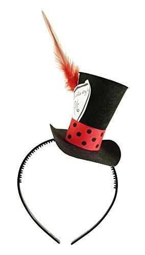 Black Mad Hatter Mini Top Hat Headband Alice in Wonderland Birthday Tea Party Steampunk (Mad Alice Costume)