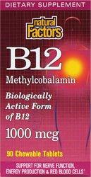 Natural Factors Vitamine B12 Methylcobalamin Comprimés 1000mcg, 90-Count