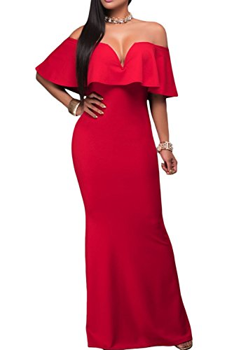 off shoulder red evening dress - 3