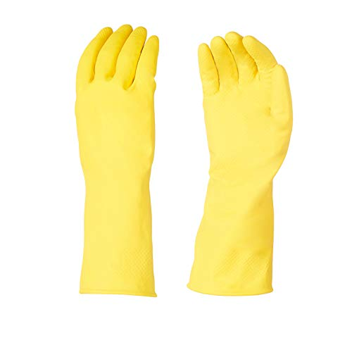 AmazonBasics Professional Reusable Rubber Gloves, Medium, Yellow, 3-Pack