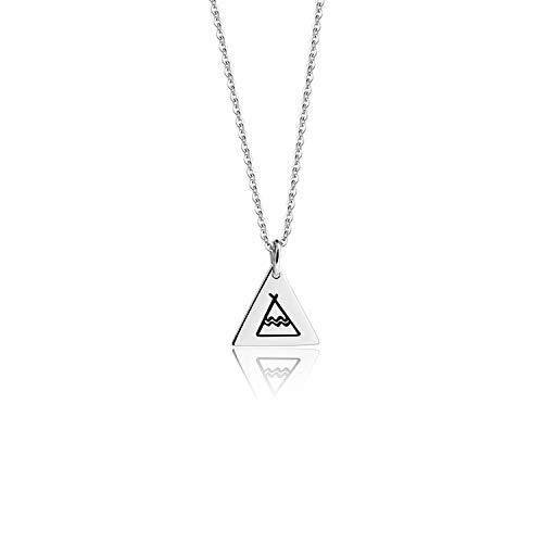 KUIYAI Tiny Teepee Pendant Necklace Triangle My Tribe Necklace Bohemian Jewelry (Silver)