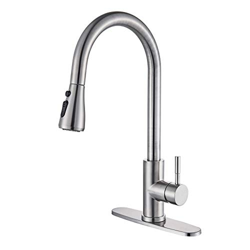 Rozin Deck Mounted Stream Rain Spray Head Kitchen Sink Faucet Pull out Design Mixer Tap with 8-inch Holes Cover Plate Brushed Nickel