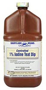 lovely St0201-Db-Tl31 Sanitizing Cow Teat Dip, 1% Controlled Iodine, 1-Gal. - Quantity 4 Grooming & Remedy Supplies, Farm Animal