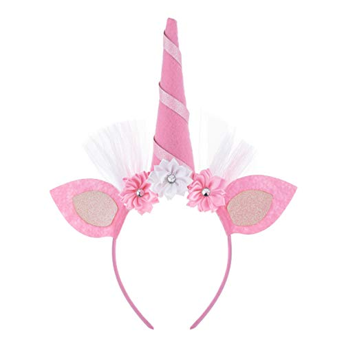 Accesyes Unicorn Horn Headband Rose Flower Headdress Girls Halloween Shiny Cosplay Costume Easter Headpiece Party (Pink Tulle) -