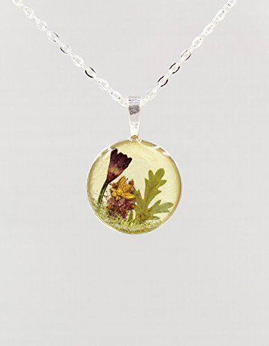 Real Red Coral Bell Flower Resin Terrarium Necklace with Bee and 24 Inch Silver-Tone Chain