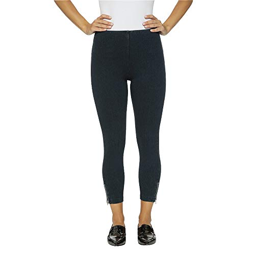 (Lysse Women's Mini Zip Denim Leggings (Indigo,M))