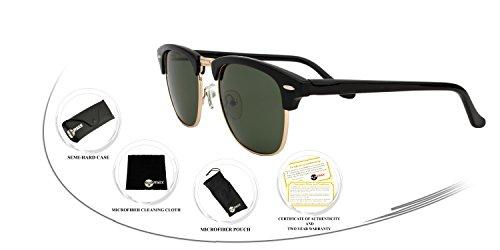 Eye-Max Clubmaster Sunglasses-Shiny Black (Polarized G-15XLT - G-15xlt Lens