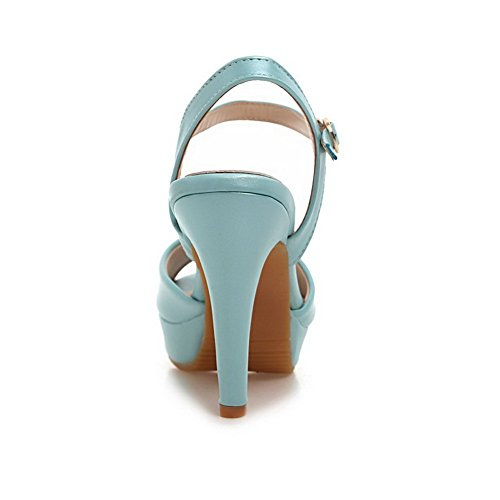 1TO9 High B Blue M US 5 Sandals Girls Patent Rain Heels Leather 7 rg5xrwqRF