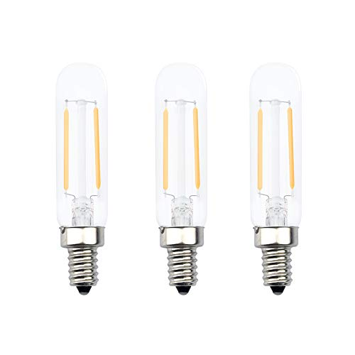 Aluxcia E12 T6 Tube LED Bulb, 2W E12 Candelabra Base T20 LED Edison Bulb 20W Halogen Replacement for Salt Lamp Chandelier Light Exit Sign Light Decoration Light Candle Light, Daylight 6000K, 3-Pack