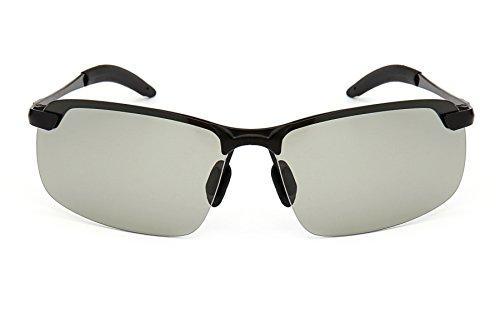 GAMT Polarized Photochromic Lens Sunglasses Day and Night Driving Semi Frame Photosensitive Sunglasses for Men