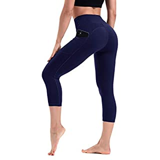 HLTPRO High Waist Yoga Capris Leggings with Pockets for Women - Tummy Control Workout Fitness Pants Navy Blue
