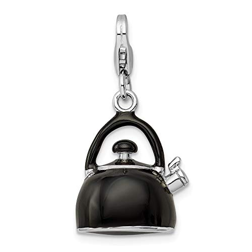 925 Sterling Silver Rh 3 D Enameled Black Tea Kettle Lobster Clasp Pendant Charm Necklace Household Fine Jewelry Gifts For Women For Her