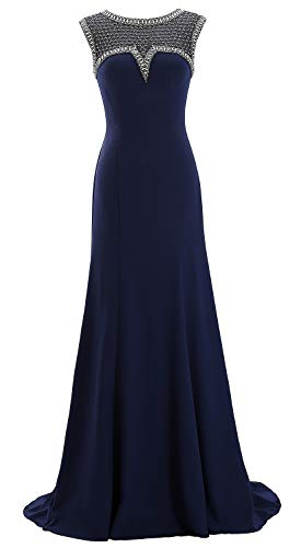 MACloth Women Cap Sleeves Beaded Mother of The Bride Gown Formal Evening Gown (US6, Dark Navy) (Mother Of The Bride Couture Evening Gowns)