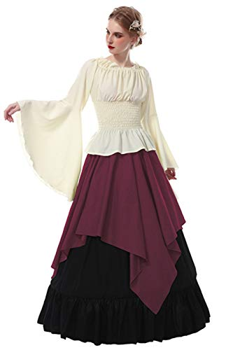 ROLECOS Womens Renaissance Medieval Costume Trumpet Sleeve Peasant Shirt and Skirt (L, red-1) -