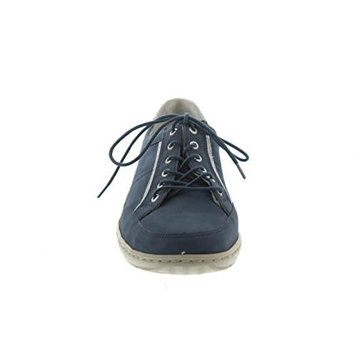 Waldläufer Henni Proaktivt 496013-206- Komfortable Sko / Løst Indstik Lingeri Komfortable Snøresko, Blå, Læder (denver Glitter), Hælhøjde: Flad Sølv Jeans